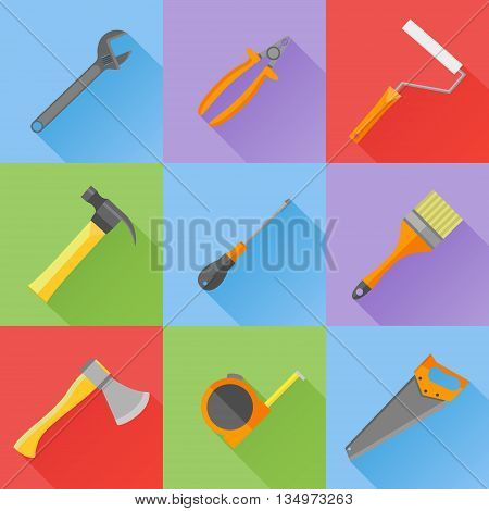 Set of construction tools flat icons. Spanner, pliers, hammer, screwdriver, brush, roller, axe, saw and tape measure. Vector illustration.
