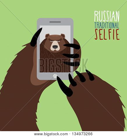 Selfie In Russia. Bear Selfie. Bear Paw Holding A Phone. Russian Traditional Ornament