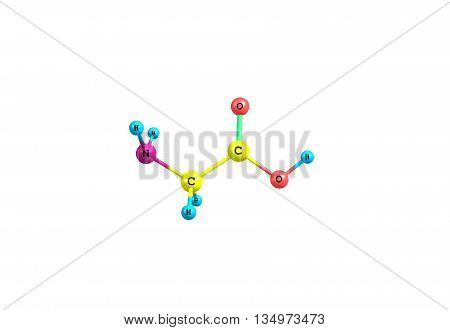Glycine is an organic compound with the formula NH2CH2COOH. Glycine is the smallest of the 20 amino acids commonly found in proteins. 3d illustration