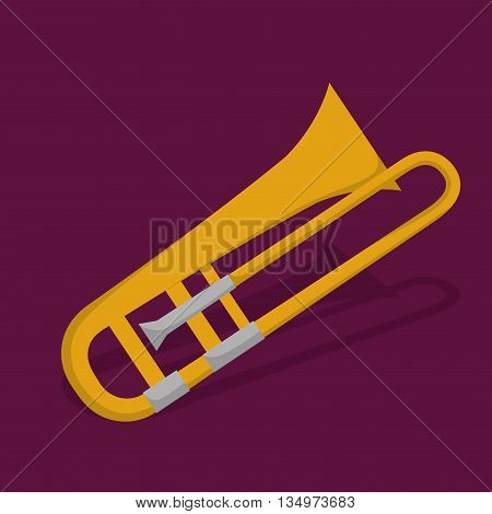 Music instrument concept represented by trumpet icon over flat and purple background