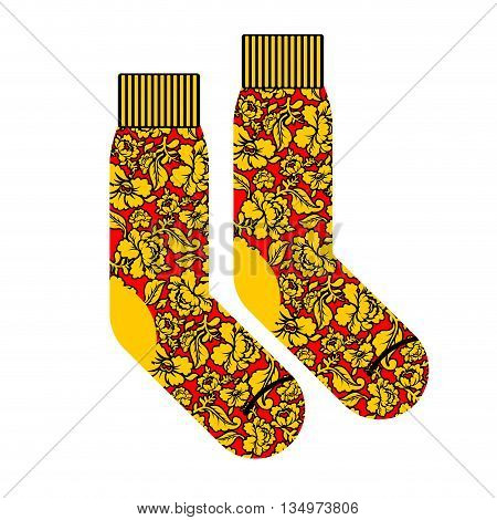 Socks For Patriot Of Russia. Clothing Accessory Russian National Pattern Khokhloma. Traditional Folk