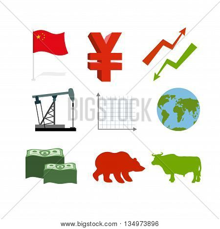 Set of business graphics. Set inografika Chinese market. Collection of icons for stock traders. Arrow green and red. Oil derrick. Barrel of oil. Chinese money Yen. USA currency dollars. Much money. Planet Earth. Bull and Bear