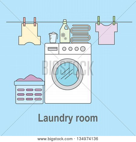 Laundry room for washing and drying items. Laundry room with washing machine linens and laundry facilities. Vector illustration.