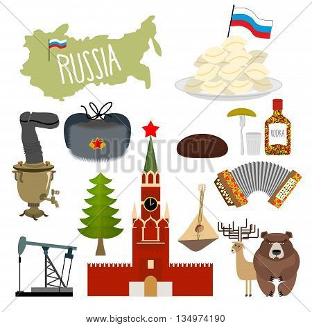 Russia set icons. Traditional objects of country. Russian national clothes. Association with country. Moscow Kremlin and Russian bear. Map States and oil. Wooden spoon and vodka.