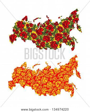 Map of Russian Khokhloma painting. Traditional Russian pattern. State border of Russian Federation. Patriotic illustration