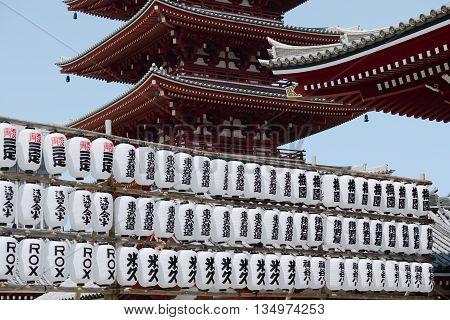 Close up of Pagodas at Sensoji Temple, Asakusa, Tokyo