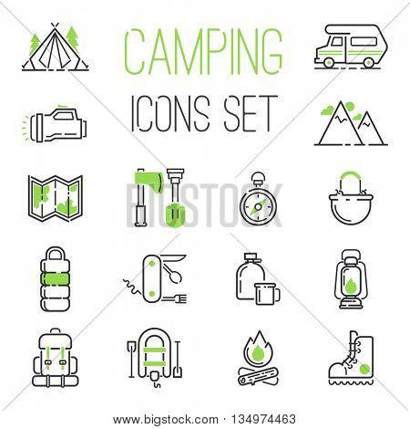 Camping icons vector set.