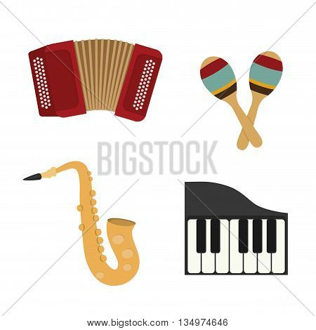 Music instrument concept represented by accordion, piano,  maraca and saxophone icon over flat and isolated background