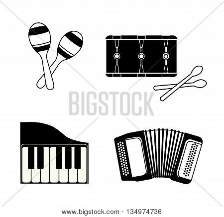 Music instrument concept represented by accordion, piano and drum icon over flat and isolated background