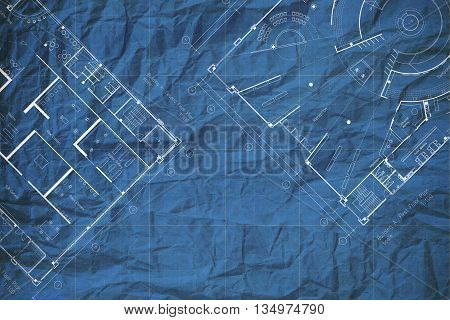 Architecture crumpled blueprint floor plan, abstract background