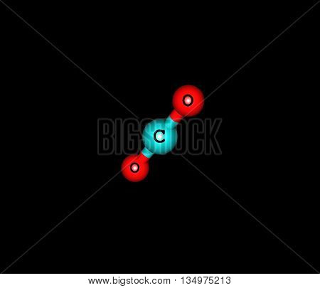 Carbon dioxide - CO2 - is a naturally occurring chemical compound composed of 2 oxygen atoms each covalently double bonded to a single carbon atom. It is a gas at standard temperature and pressure. 3d illustration