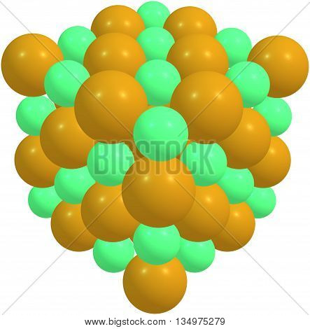 Sodium chloride - NaCl - isolated on white. 3d illustration