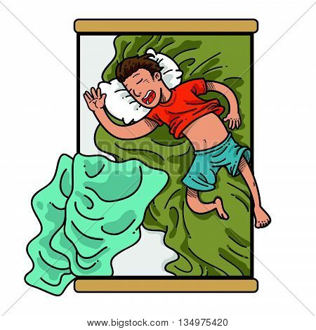 Illustration of sleeping man in messy bed