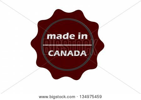 made in Canada red round vintage stamp.Canada stamp.Canada seal.Canada tag.Canada.Canada sign
