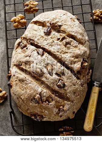 close up of rustic artisan walnut bread