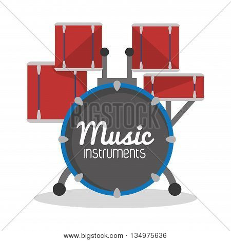 Music instrument concept represented by drums  icon over flat and isolated background