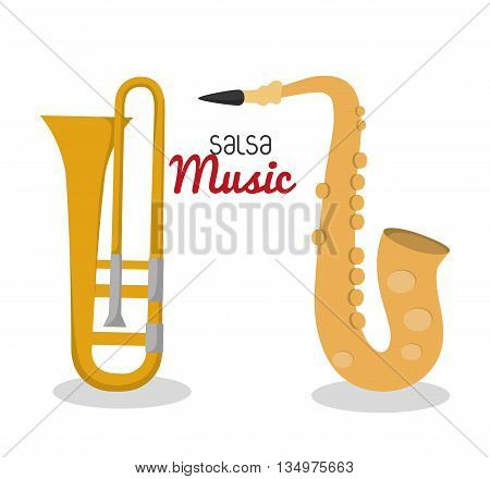Music instrument concept represented by saxophone, trumpet  icon over flat and isolated background