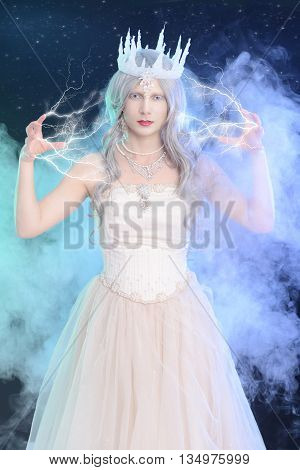 portrait of ice queen with lighting magic