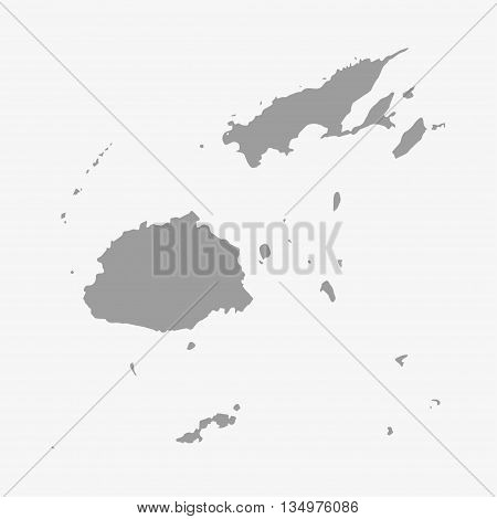 Fiji map in gray on a white background