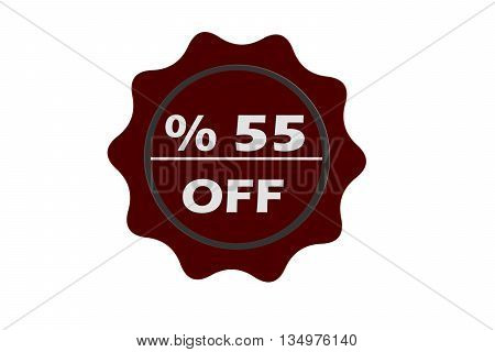 stamp 55 percent off with red text over white background.red seal.seal.