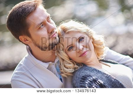Close up portrait of happy smiling couple in love.