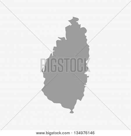 Saint Lucia map in gray on a white background