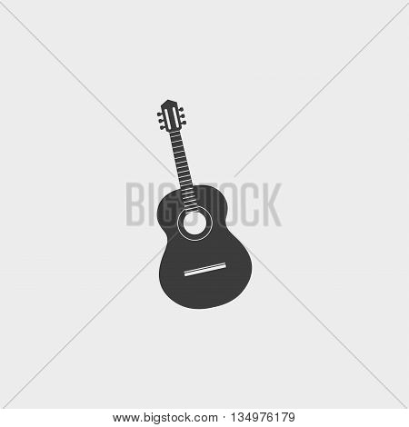 acoustic guitar icon in a flat design in black color. Vector illustration eps10