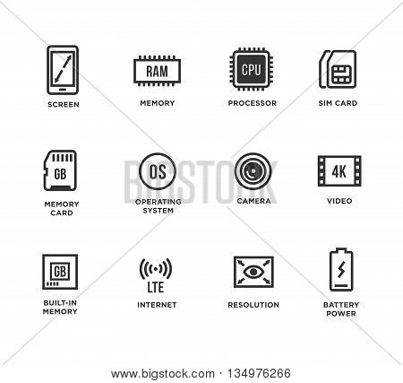 Mobile Device Components Vector Icon Set. Shop