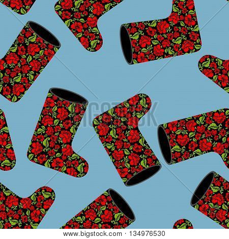 Valenki Khokhloma Seamless Pattern. National Russian Winter Footwear From Felt. Traditional Ornament