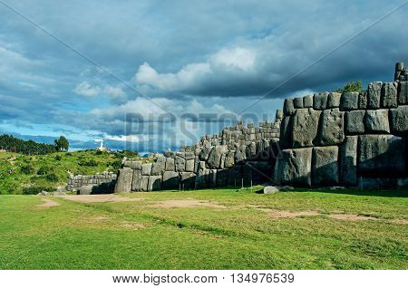 Sacsayhuaman Inca ruins in Cusco Peru. South America