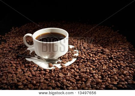 coffee beans with white cup