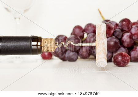 Old corkscrew in a bottle of wine and grapes with a glass in the background