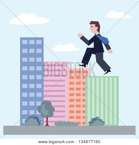 Confident businessman walking up the houses. Concept of business with person walking to the success. Modern flat design of urban landscape with city buildings, vector illustration.