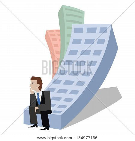 Vector illustration of businessman sitting on a house. Business concept the real estate market isolated on white background.