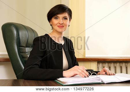 the successful business woman in the office