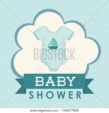 Baby shower concept represented by cloth icon over flat and pastel background