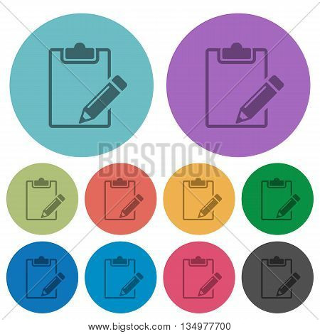 Color notepad flat icon set on round background.