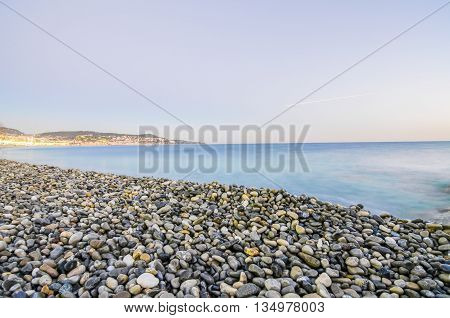 France, Nice, Cote d'Azur - Pebbly beach close to Promenade des Anglais