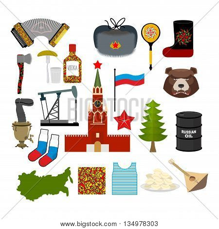 Russia Symbol Set. Russian National Character. State Traditional Objects. Moscow Kremlin And Bear. M