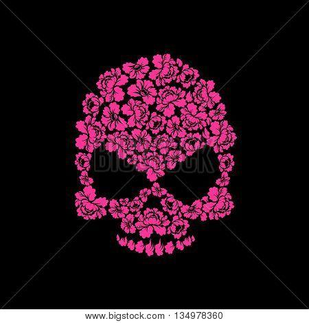 Skull Of Roses On A Black Background. Flower Skull Man. Vector Illustration
