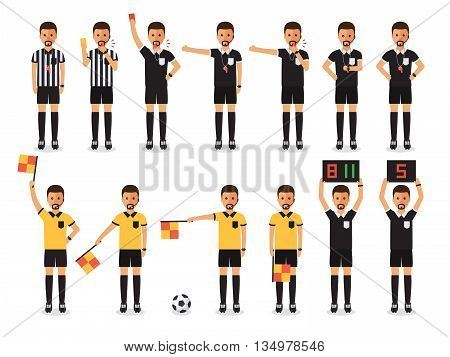 Soccer referees football referees in actions on white background. Flat design characters.