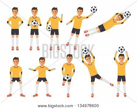 Soccer sport athletes football goalkeeper playing kicking training and practicing football. Flat design characters.