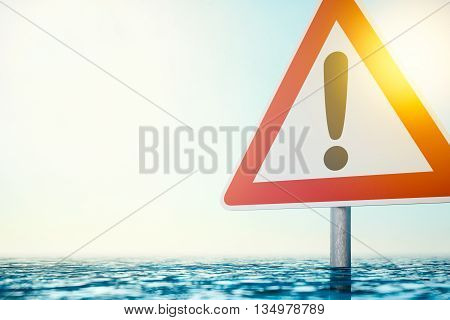 The Flood - Computer generated image of a warning sign which is standing in flood water. 3D rendering