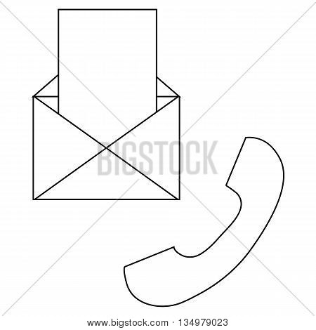 Envelope and handset icon in outline style on a white background