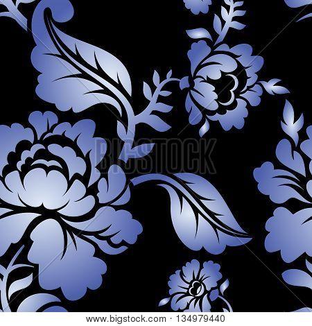 Gzhel Russian National Seamless Pattern. Traditional Russian Retro Ornament. Blue Flowers On Black B