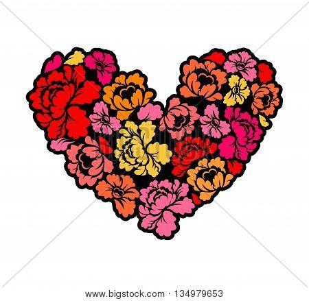 I love flower. Heart of roses. Vecote illustrator