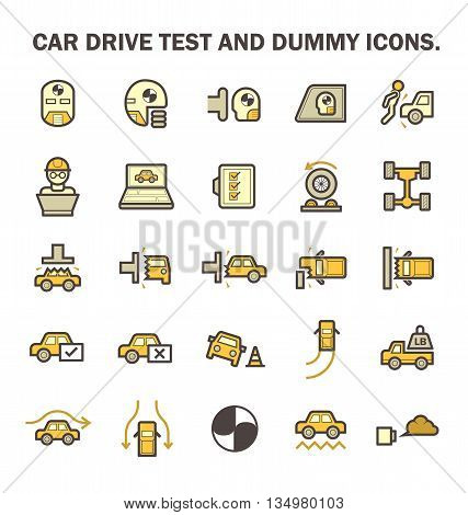 Car test drive and dummy vector icon sets.