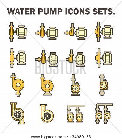 Water pump vector icon sets isolated on white.
