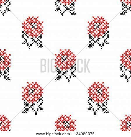 Seamless embroidered texture of abstract flat black and red flowers roses for cloth, wallpaper