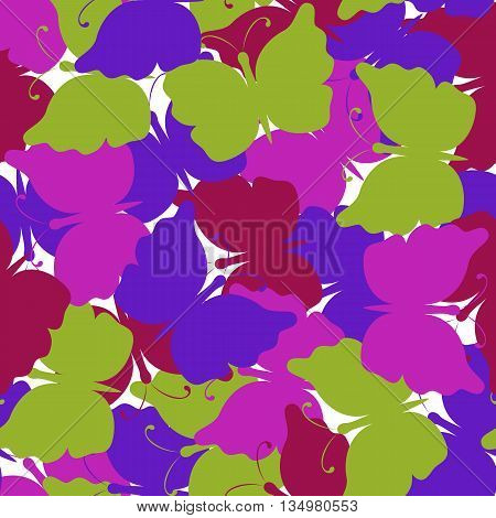Butterfly colored seamless pattern. Green, dark red, pink, violet butterfly. Nature seamless background. Vector illustration. Used for cards, invitations, fabrics wallpapers wrapping scrap-booking